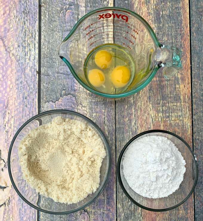 ingredients for keto lemon bars in separate glass bowls