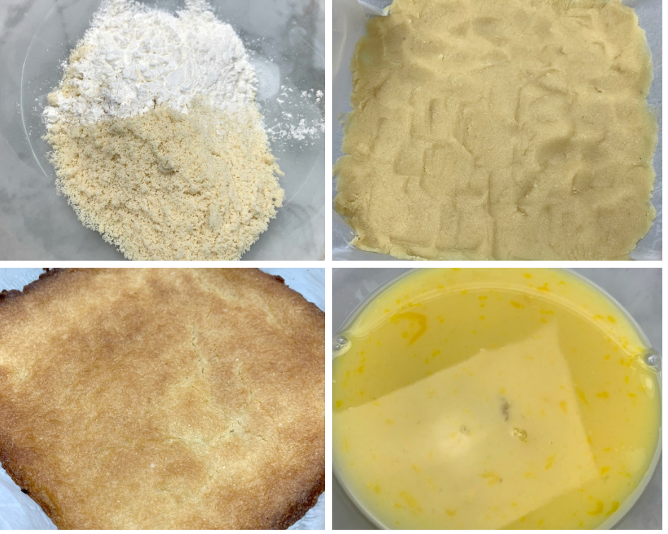 dough and batter for keto lemon bars, dough pressed in a pan and filling in a glass bowl