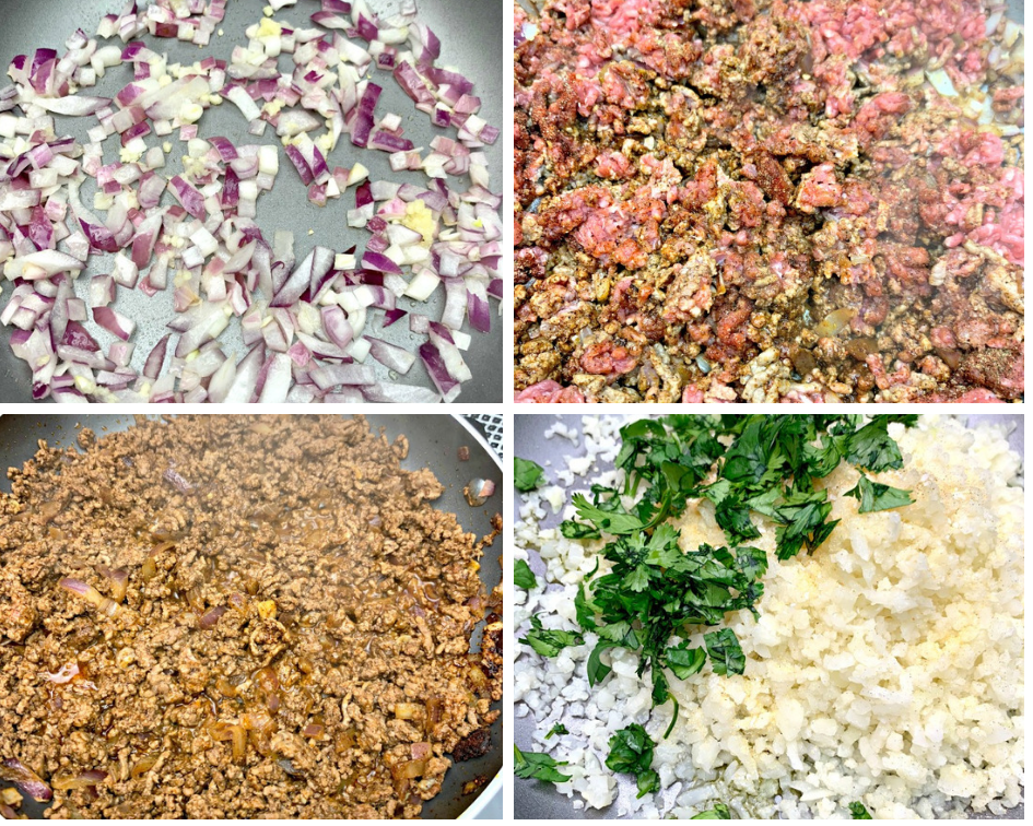 4 photos in one collage, chopped onions and garlic in a skillet, raw ground beef in a skillet, cooked ground beef in a skillet, and rice cauliflower with cilantro