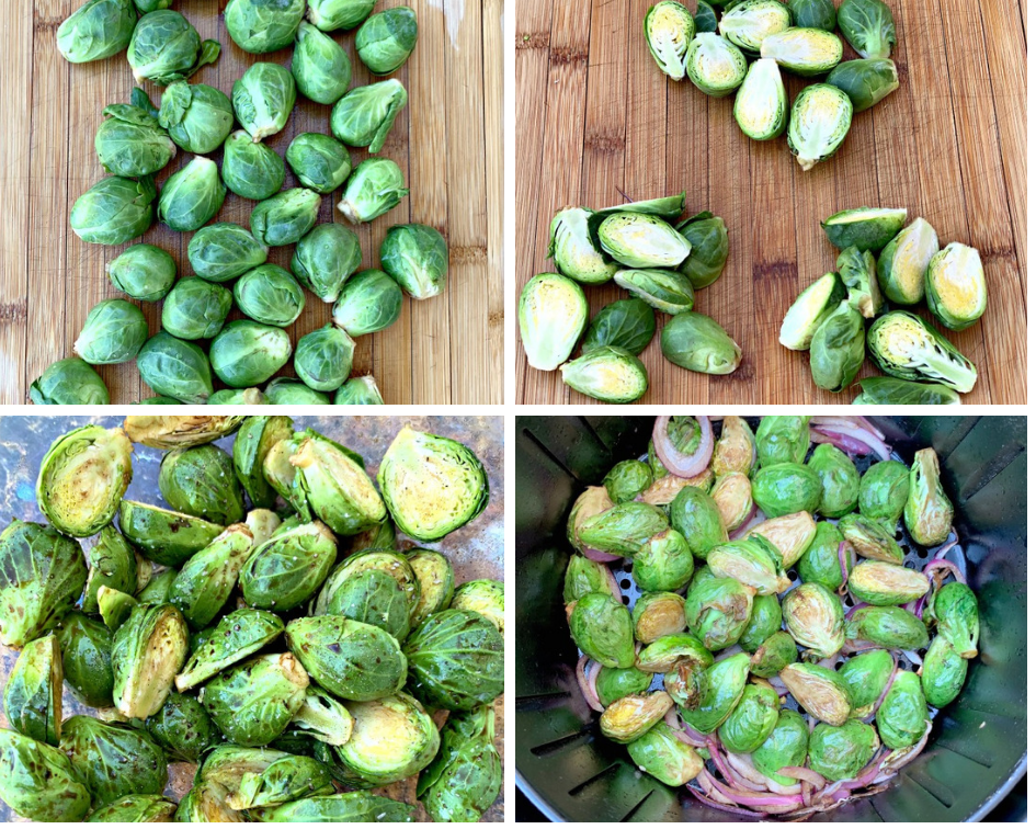 a collage photo of raw brussels sprouts on a cutting board, sliced brussels sprouts on a cutting board, brussels sprouts in a glass bowl with balsamic vinegar, and brussels sprouts in an air fryer