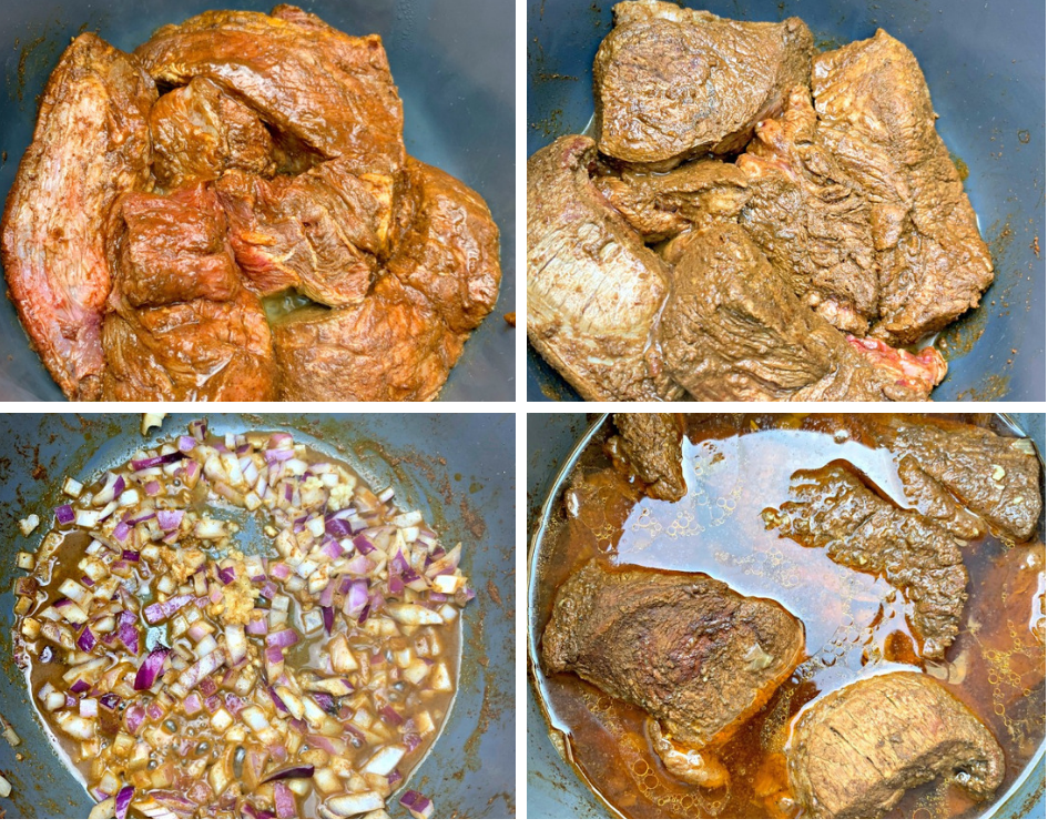 a collage photo of raw beef roast in an instant pot with onions and garlic