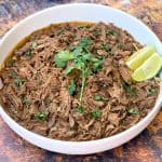 instant pot keto low carb barbacoa beef in a white bowl
