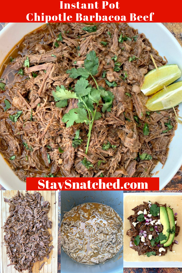 Instant Pot Barbacoa Beef (Keto and Low-Carb Chipotle Copycat) is the best quick and easy pressure cooker recipe that makes shredded braised beef tacos using coconut tortillas that are perfect for meal prep. This dish is Whole-30, paleo, and gluten-free. You can use 1.5-3 pounds of beef roast. This keto-friendly recipe includes slow-cooker instructions as well. #InstantPotRecipes #KetoRecipes