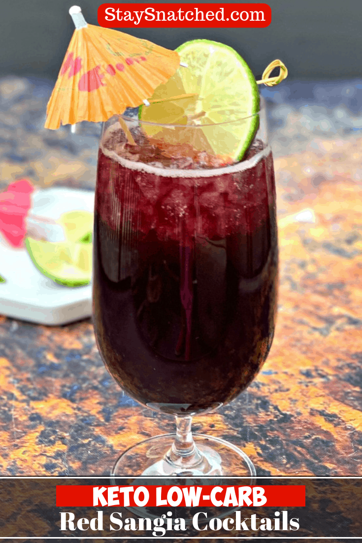 Easy Keto Low-Carb Red Sangria Wine Cocktails are the best healthy, skinny drink perfect for summer or any event. This sugar-free drink is made with Spanish wine, Brandy, and club soda. You can swap in vodka if you wish. This drink low-calorie and diabetic friendly. #KetoRecipes #KetoSangria