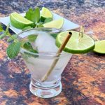 keto low carb mojito drink cocktail in a glass with fresh mint and fresh lime