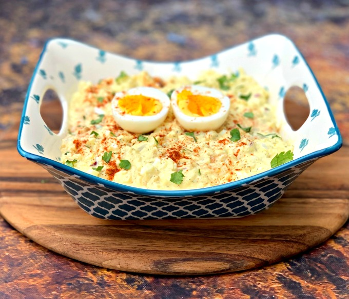 keto low carb potato salad with boiled eggs