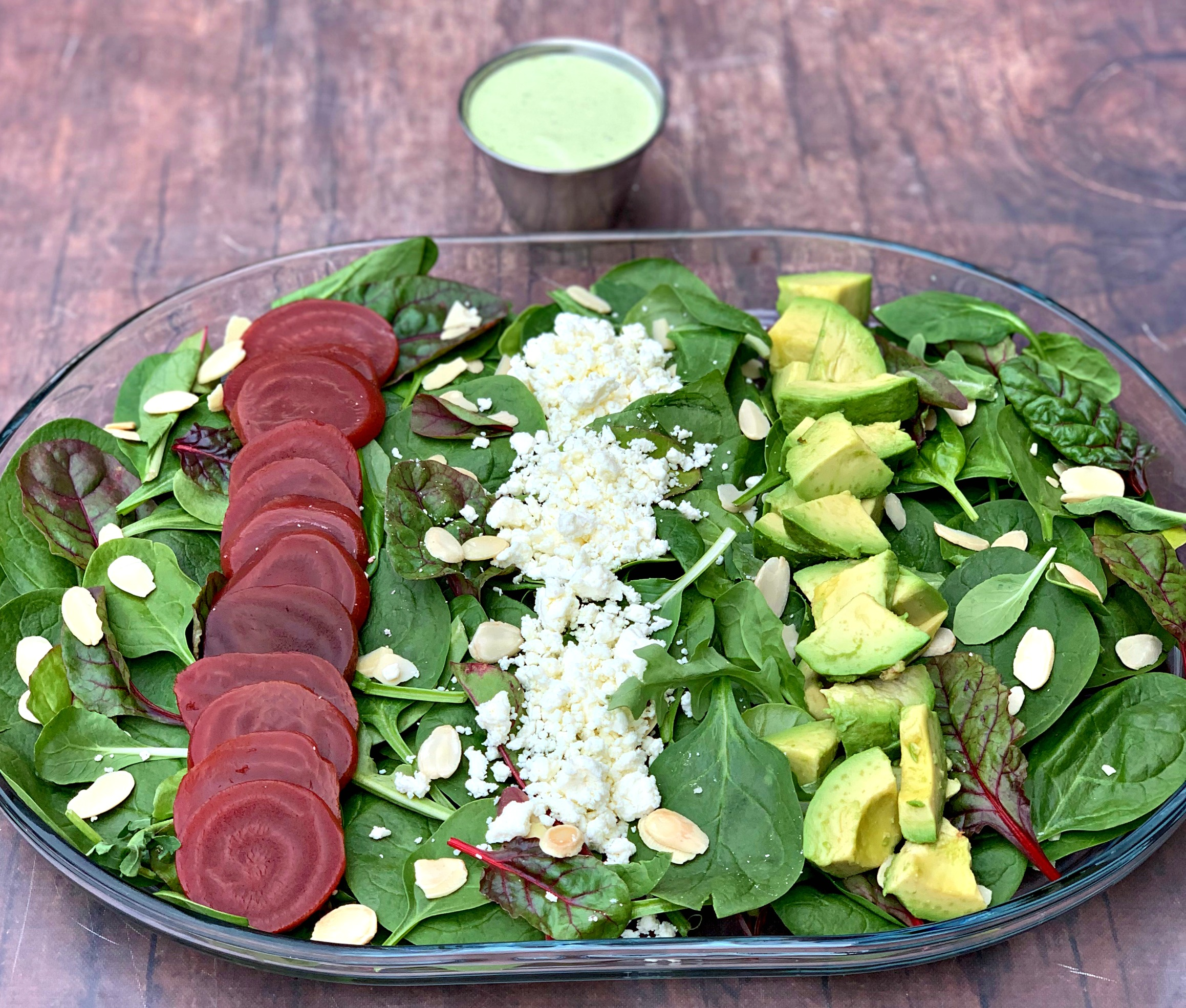 Green Goddess Salad in a glass bowl