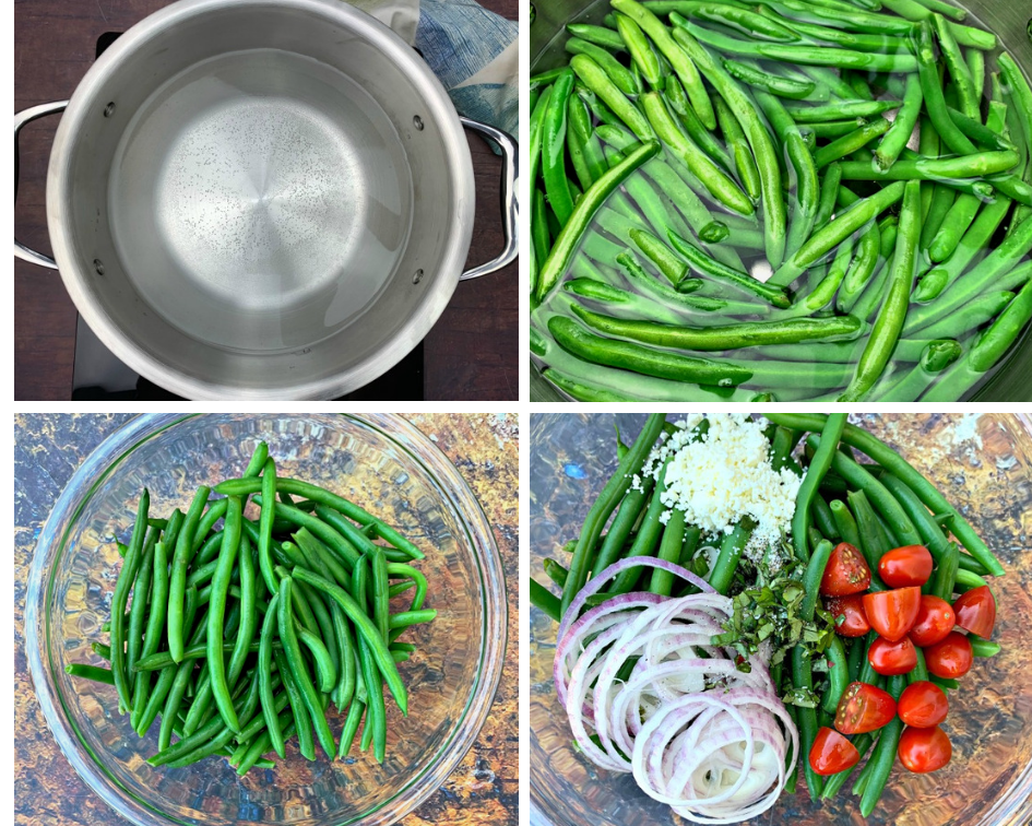 collage photo of 4 photos of water boiling in a pan, green beans boiling, and cooked green beans in a glass bowl