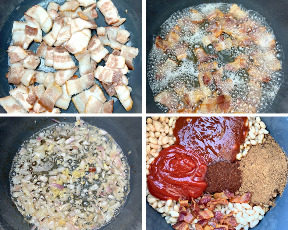 4 collage photos of raw bacon in an Instant Pot, cooked bacon in an Instant Pot, sauteed onions and garlic in an Instant Pot, bbq sauce, ketchup, brown sugar, and navy beans in an Instant Pot