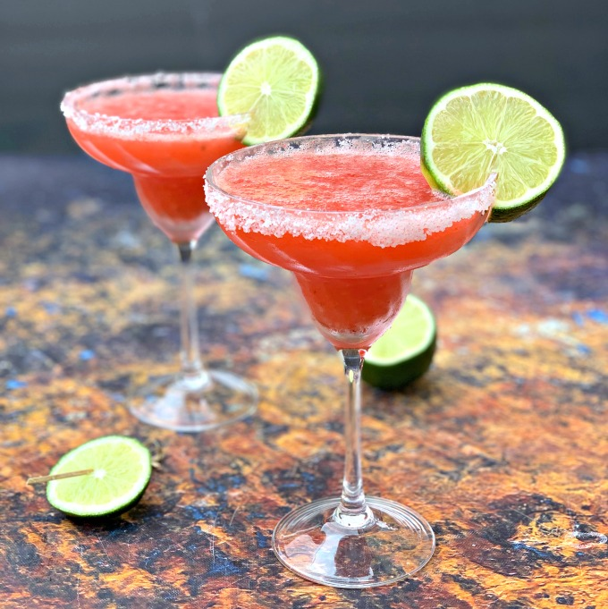 Keto Low Carb Skinny Frozen Strawberry Margarita Cocktails Video