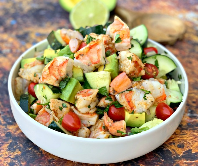 keto low carb shrimp avocado ceviche salad in a white bowl