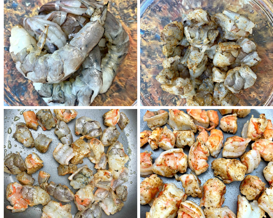 a collage of 4 photos of shrimp, raw shrimp and shrimp cooking in a skillet