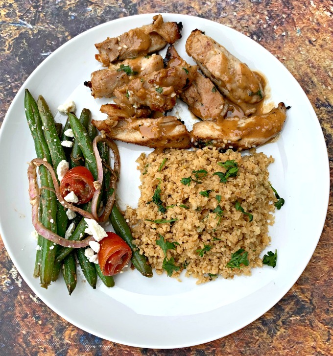 thai chicken green bean salad and cilantro rice