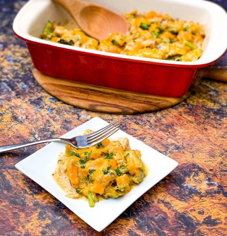 Easy, Keto Low-Carb Chicken Broccoli Cheese Casserole