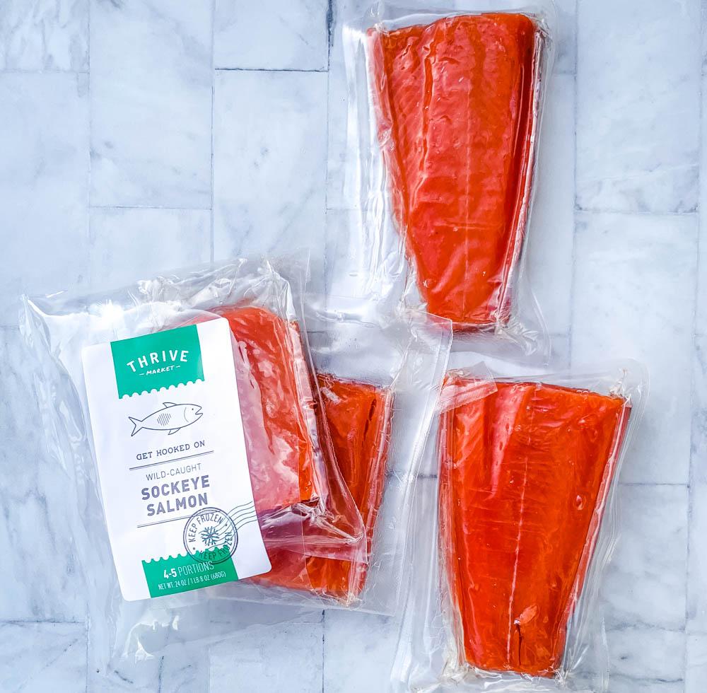 raw Alaskan salmon in a package