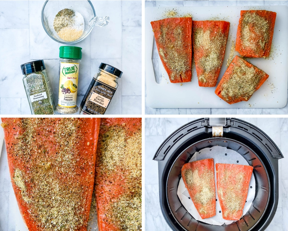 a collage photo of 4 different photos of lemon pepper seasoning, raw salmon seasoned, and raw salmon in an air fryer