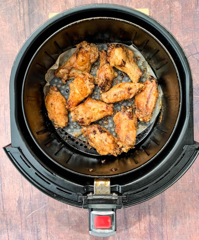 keto breaded chicken wings in an air fryer