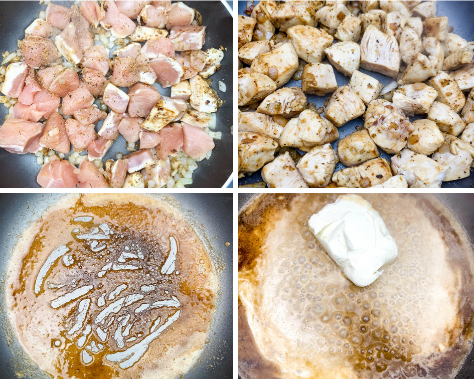 4 collage photo of raw chicken and cooked chicken and roux in a skillet
