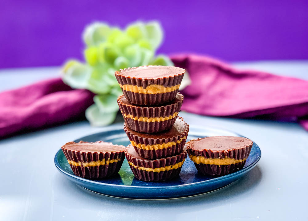 keto peanut butter cups on a blue plate