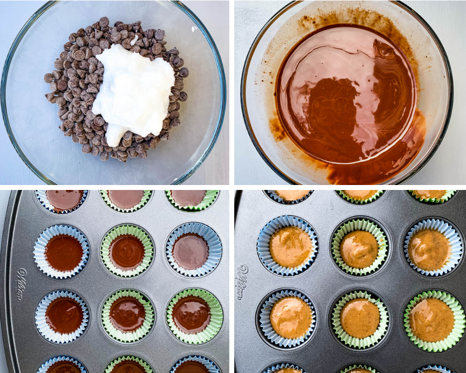 collage of 4 different photos, chocolate chips and coconut oil in a glass bowl, melted chocolate in a bowl, and peanut butter cups batter in muffin tins