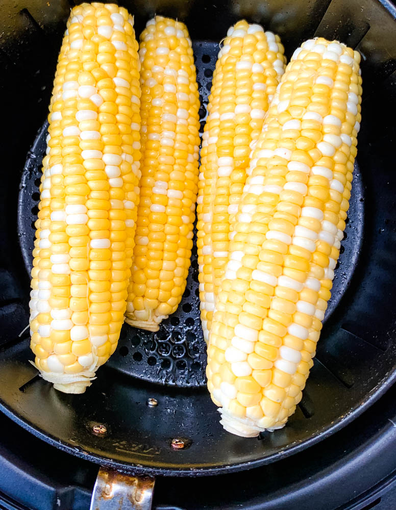 raw corn on the cob in an air fryer