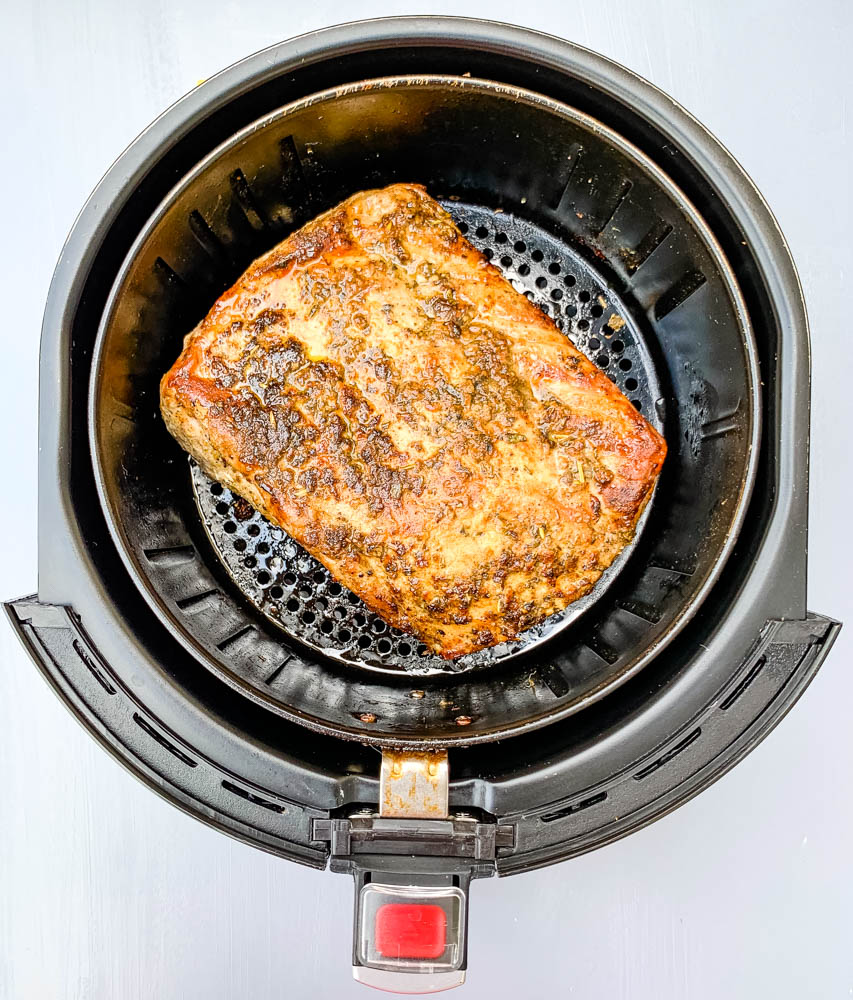 air fryer pork loin in an air fryer basket