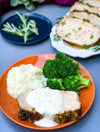 air fryer pork loin with cauliflower mash and broccoli