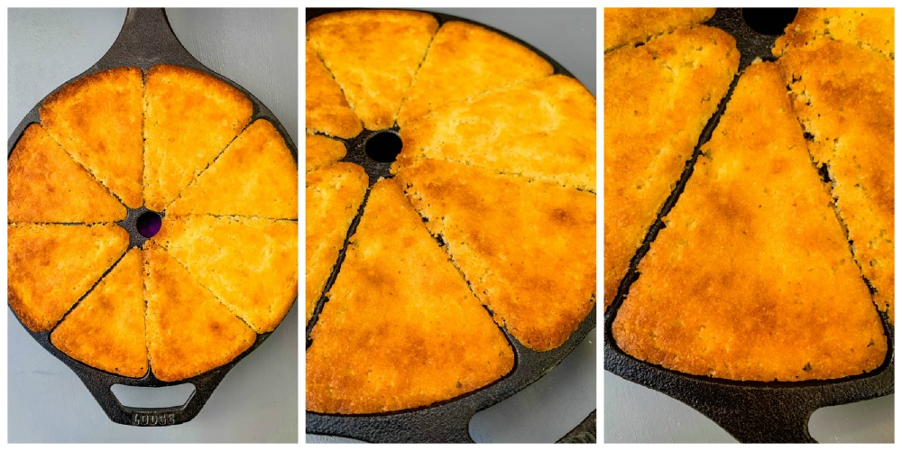 collage photo of cooked cornbread in a cast iron skillet