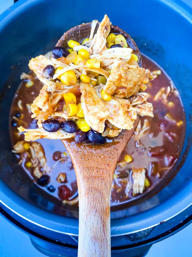 wooden spoon of Instant Pot Chicken Tortilla Soup
