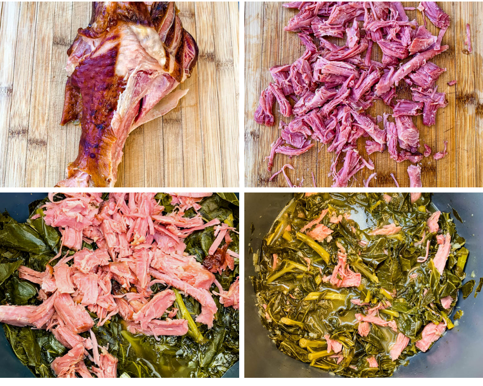 collage photo of a cooked smoked turkey leg, shredded smoked turkey on a cutting board, cooked collard greens and smoked turkey in an Instant Pot