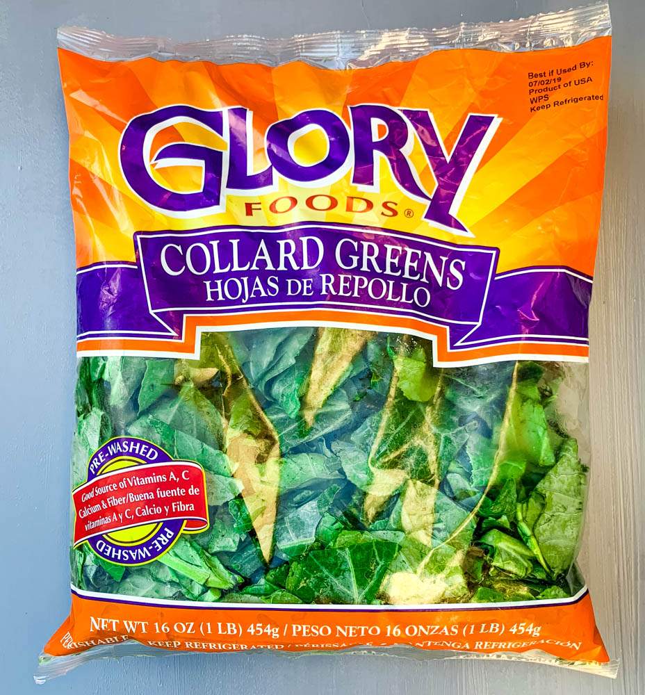 pre-cut and pre-washed Glory Greens collard greens in a bag