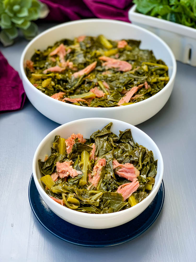 instant pot collard greens in white bowls with smoked turkey