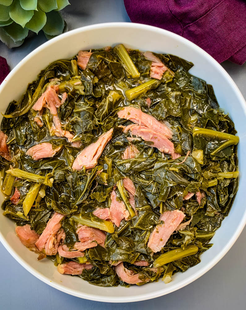 image of collard greens in a white bowl