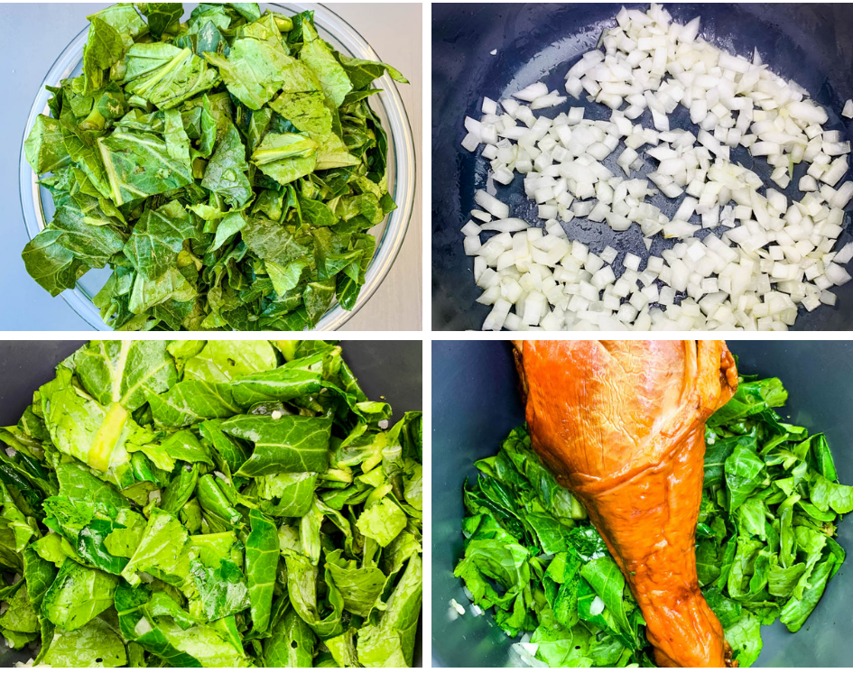 collage photo of raw collard greens in a glass bowl, onions cooking in an Instant Pot, and raw collard greens and a smoked turkey leg in an Instant Pot