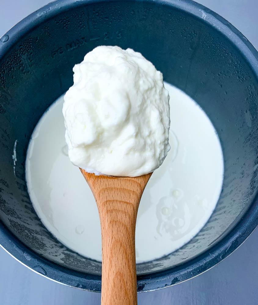 a wooden spoon with instant pot homemade yogurt