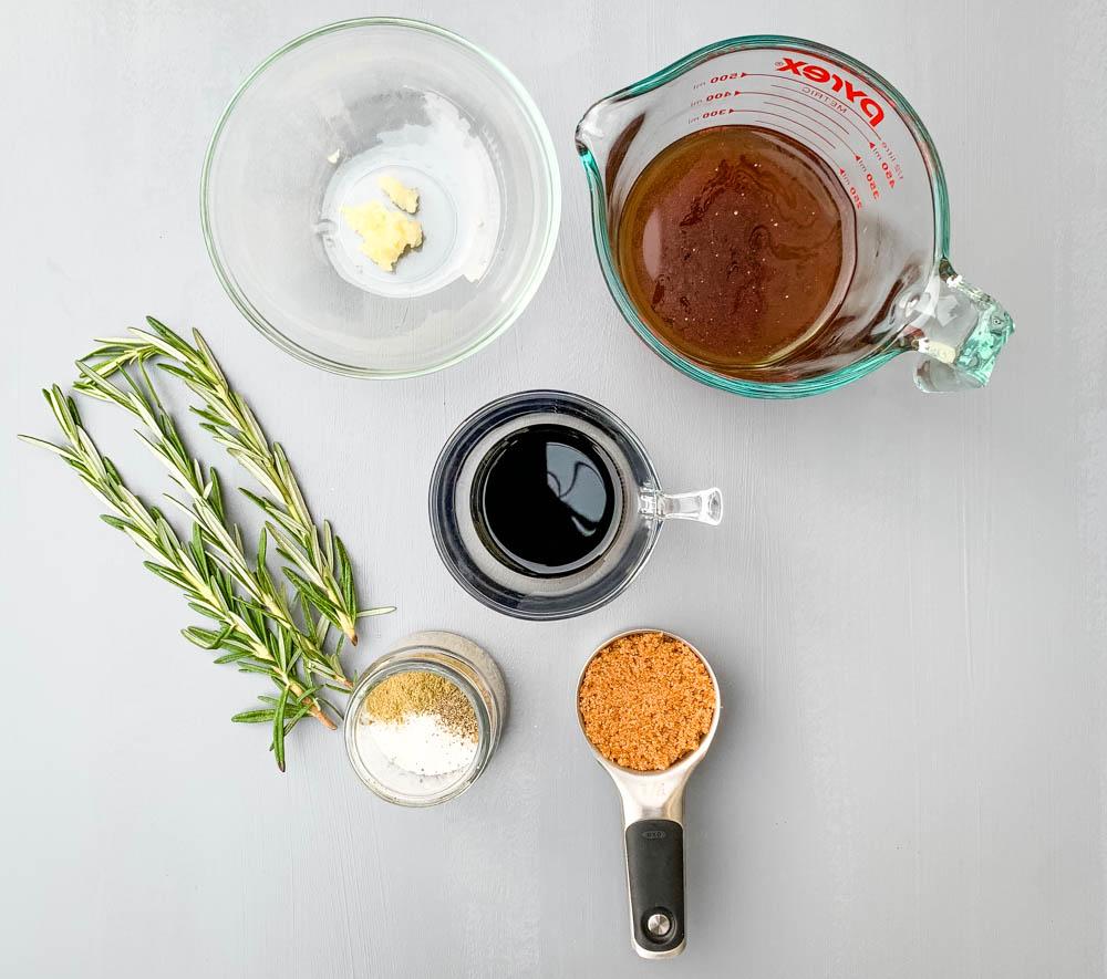 minced garlic, beef broth, balsamic vinegar, brown sugar, and rosemary