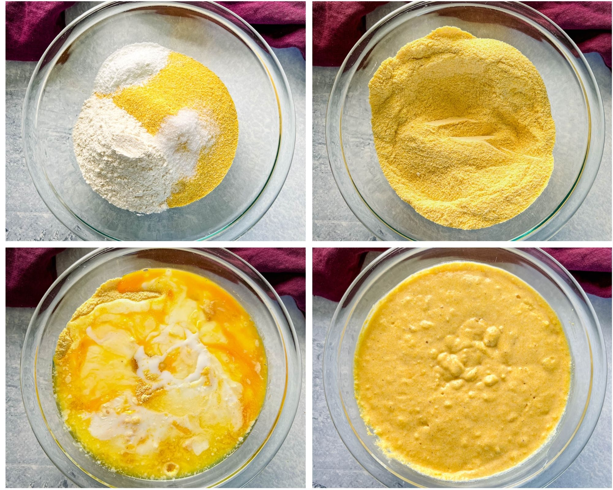 collage photos of a greased wedge pan skillet, cornmeal in a mixing bowl, and cornbread batter in a mixing bowl