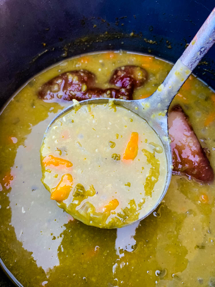 cooked split pea soup in an Instant Pot