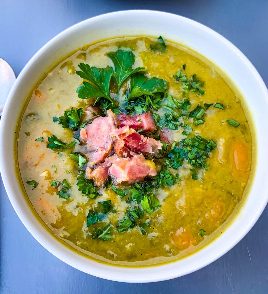 instant pot split pea soup in a white bowl