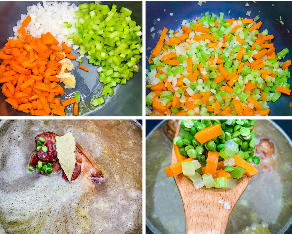 collage photo of 4 photos with carrots, onions, and celery in an Instant Pot and chicken broth in an Instant Pot