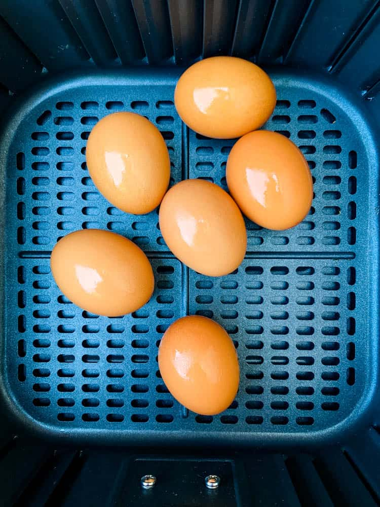 cage free brown eggs in an air fryer