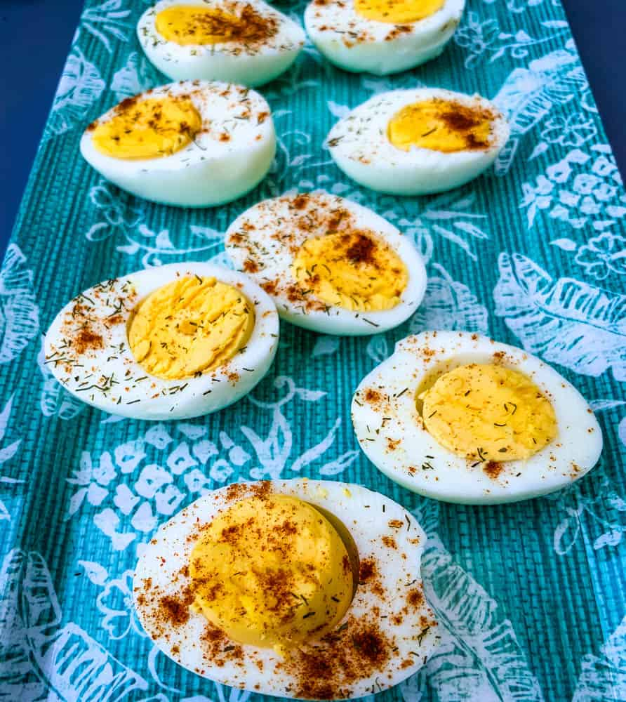air fryer hard boiled eggs on a blue plate