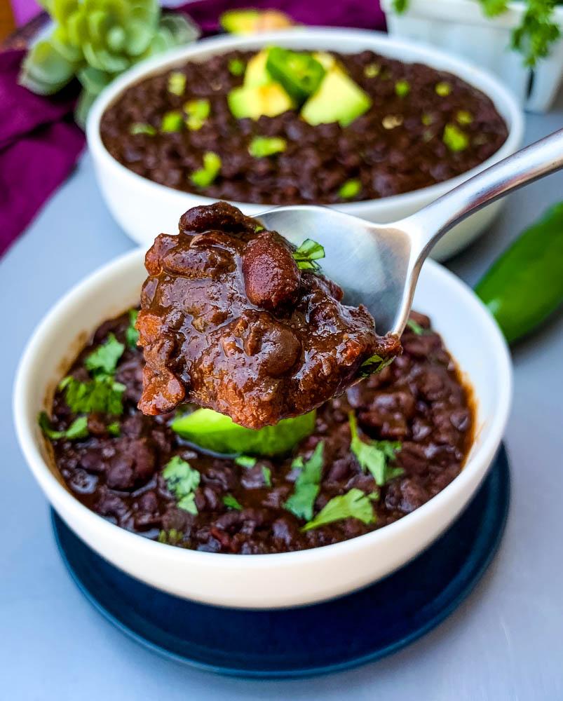 a spoonful of instant pot black bean soup