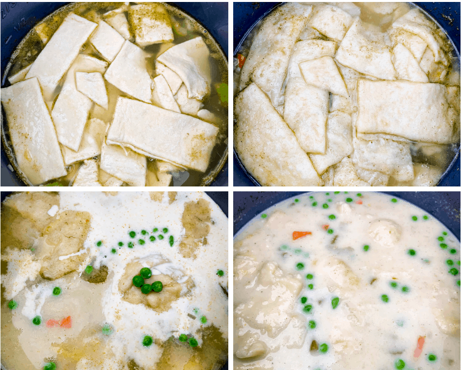 collage photo of Instant Pot chicken and dumplings being prepared