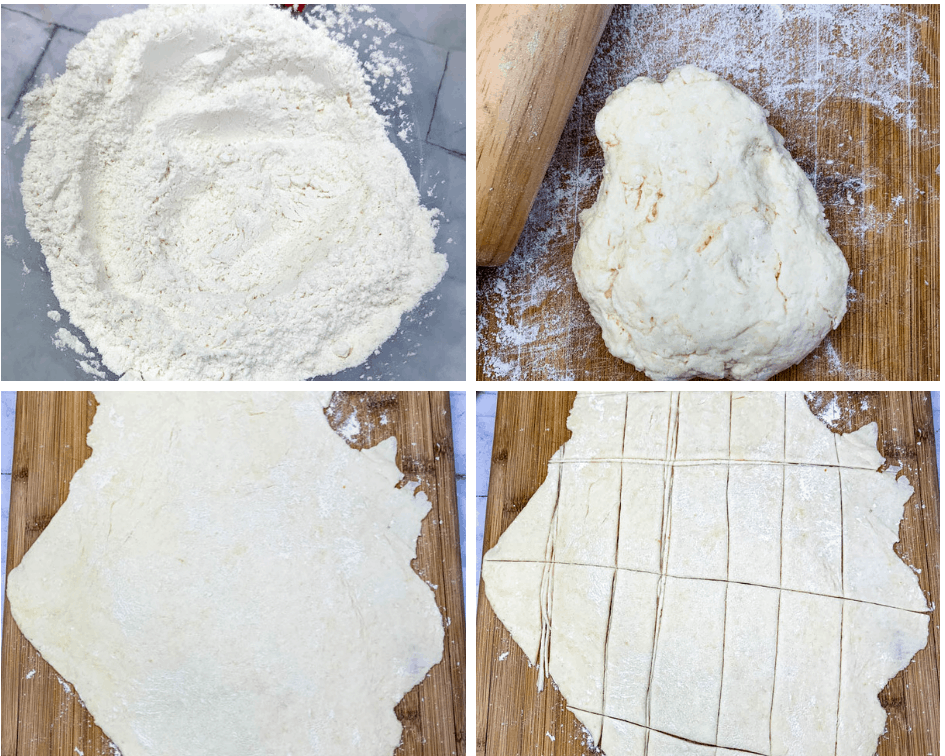 collage photo of homemade dumplings from scratch on a cutting board with a rolling pin