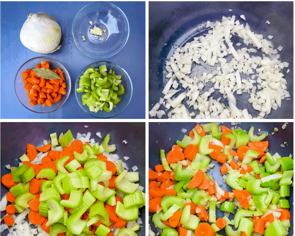 collage photo of carrots, onions, and celery being cooked in an Instant Pot