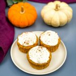 keto low carb pumpkin muffins on a white plate