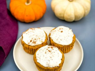 keto low carb pumpkin muffins on a beige plate
