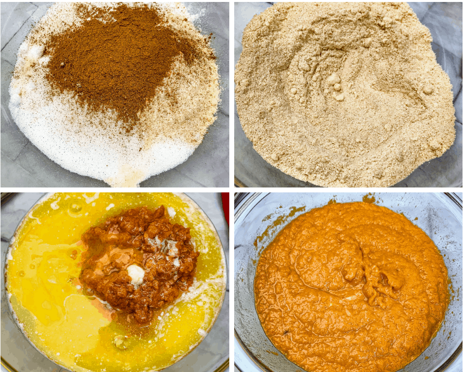 collage photo of keto low carb pumpkin batter in glass bowls