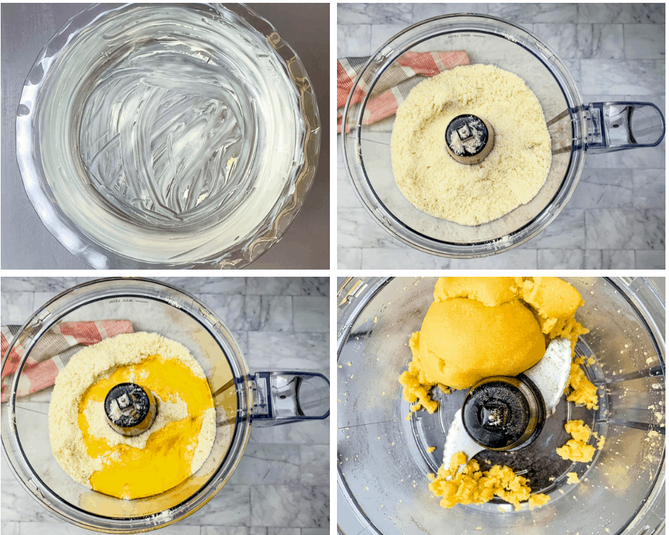 collage photo of keto low carb crust in a food processor